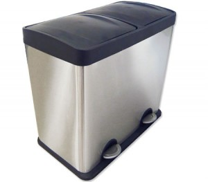 Modern 48 Litre Rectangle Pedal Rubbish Bin with Stainless Steel Body & Plastic Flip-Top Lids - 2 Separate Compartment