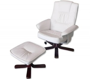 Recliner Chair & Foot Stool - Cream White Leather Swivel Office Chair