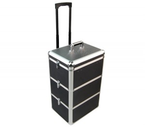 Portia Cosmetic Beauty Makeup Portable Trolley Case with Adjustable Compartments - Black