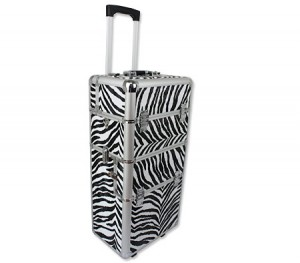2 in 1 Deluxe Aluminium Makeup Cosmetic Portable Carry Case and Travel Trolley - Zebra Print