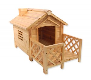 Luxury Wooden Dog House Kennel with Porch For Indoor/Outdoor