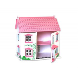 Wooden Dolls House with Family Dolls and Furniture