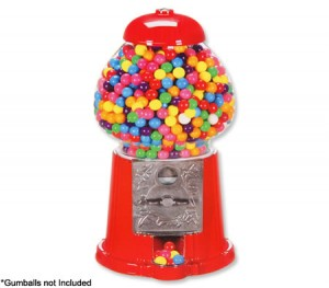 "Retro Gumball Dispenser 15"" Coin-Operated Machine - Red"