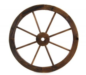 Large Wooden Wheel Garden Feature