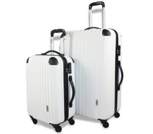 2pc Hard- Shell Luggage Trolley Set - White
