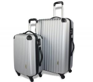 2pc Hard- Shell Luggage Trolley Set - Silver