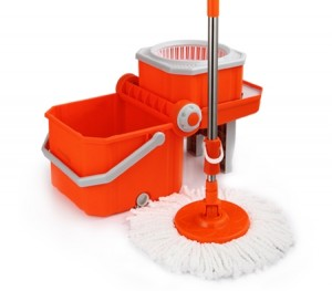360 Degree Spin Mop & Spin Dry Bucket with 4 Mop Heads