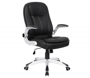 Ergonomic Adjustable High Back PU Leather Executive Office Chair with Arm Rests - Black
