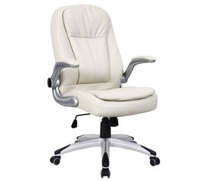 Ergonomic Adjustable High Back PU Leather Executive Office Chair with Arm Rests - Cream