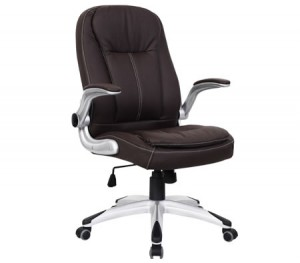 Ergonomic Adjustable High Back PU Leather Executive Office Chair with Arm Rests - Brown