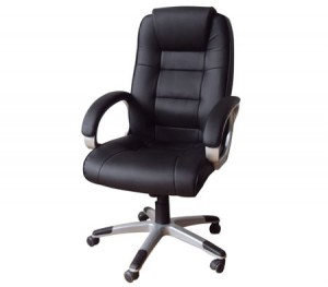 High Back Adjustable PU Leather Executive Office Chair - Black