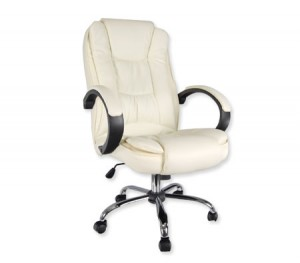 High Back Adjustable PU Leather Executive Office Chair with Arm Rests - Cream - 7307_CR