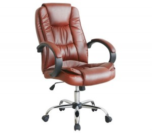 High Back Adjustable PU Leather Executive Office Chair with Arm Rests - Brown - 7307_BR