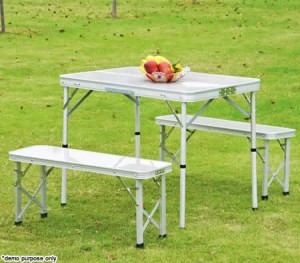 4 Person Aluminium Foldable Table & Two Bench Chair Set for Picnic & Camping - Silver
