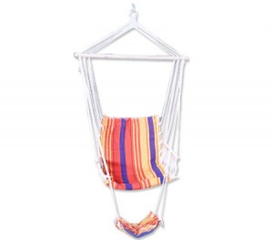 Swinging Hanging Hammock Chair with Footrest - Yellow with Coloured Stripes