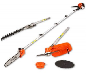 5 in 1 43cc Long Reach Hedge Trimmer Pole Chainsaw and Nylon Brush Cutter