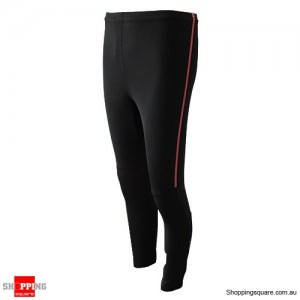 Womens Mens Compression Full Length Tights Wear Pants With Red Narrow strip Size 14
