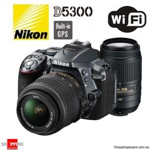 Nikon Digital SLR Camera D5300 18-55mm VR & 55-300mm VR Black