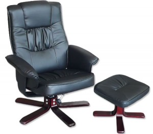 Recliner Chair & Foot Stool - Black Leather Swivel & Recline Office Chair