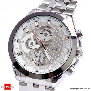 Mens Stainless Steel Quartz Sports Watch Waterproof - Silver