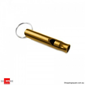 Portable Aluminum Survival Camping Mini 4.5CM Whistle With Keychain Gold Colour