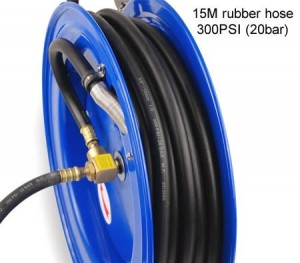 15M Heavy Duty Auto Retractable Rewind Air Hose Reel - Blue