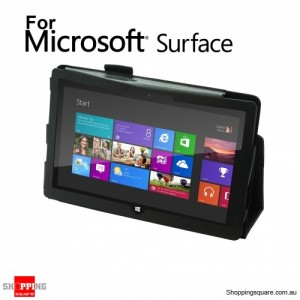 Leather Stand Case Cover For Microsoft Surface RT Black Colour