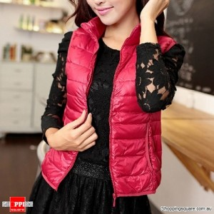 Women's Ultra Lightweight Down Vest Jacket Size 8 Red Colour