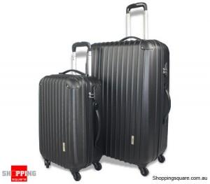 2pc Hard- Shell Luggage Trolley Set - Black