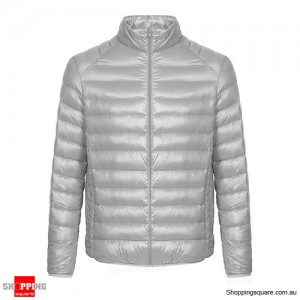 Fashion Men's Ultra Lightweight Down Jacket Size 10 Gray Colour