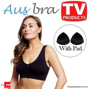AusBra Pro - Seamless Bra's with pad -  Size 8 Black - Shapewear