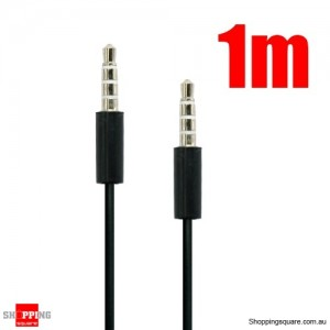 1M 3.5mm Audio Cable for iPhone to Car Stereo Audio AUX - Silver Plated 3.5mm Jack Black