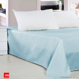 New Cotton 300 Thread Queen Size Bed Sheet Light Blue Colour