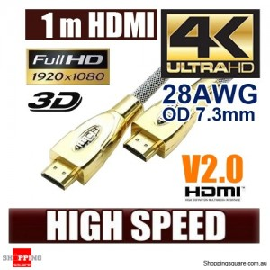 1m Ultra Premium HDMI Cable Gold Plated V2.0 High Speed 3D 4K Ultra HD Audio
