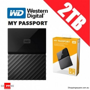 Western Digital My Passport 2TB USB 3.0 External Portable Storage Hard Drive Black