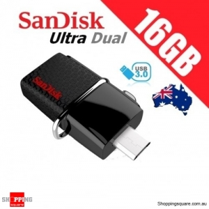 SanDisk 16GB Ultra Dual OTG USB 3.0 Flash Drive Memory 130MB/s