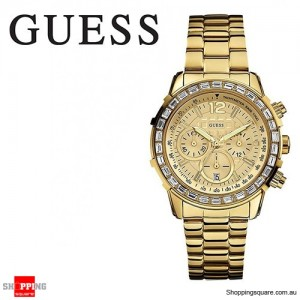 Guess Ladies Stainless Steel Gold Chained Crystal Chronograph Watch