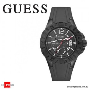 Guess Men's Stainless Steel Black Dial Rubber Band Sports Watch
