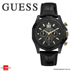 Guess Men's Phantom Black Leather Chronograph Watch