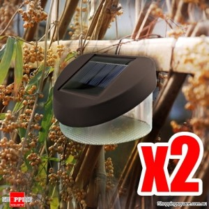 2 X Outdoor Solar Powered LED Garden Landscape Wall Path Lamp Light Cool White