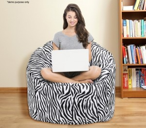 Zebra Print Bean Bag Sofa Cover