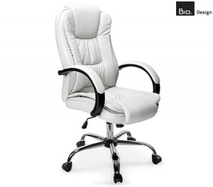 White Faux-Leather Executive Chair