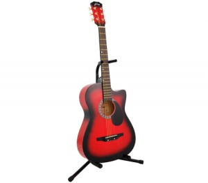 "Acoustic Cutaway Guitar 38"" Red + Bonus String Set + Guitar Stand"