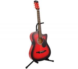 """Acoustic Cutaway Guitar 38"""" Red + Bonus String Set + Guitar Stand"""