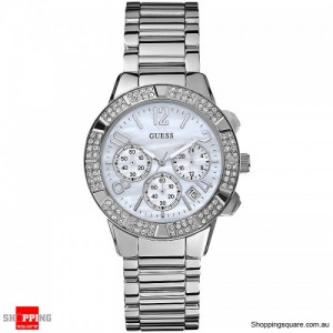 Guess Ladies Stainless Steel Stainless Steel Silver Chained Crystal Chronograph Watch