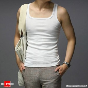 Men's Cotton Singlet Tank Top For Sports Gym White Colour Size 8