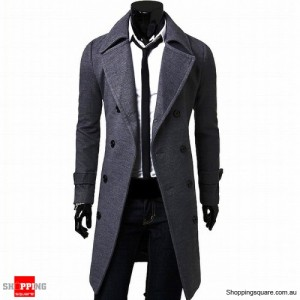 Men's Slim Cut Trench Coat Long Jacket Gray Colour Size 14