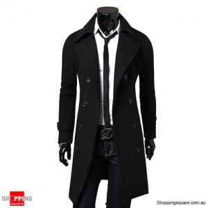 Men's Slim Cut Trench Coat Long Jacket Black Colour Size 14