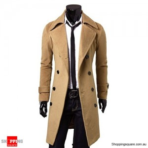 Men's Slim Cut Trench Coat Long Jacket Camel Colour Size 16