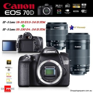 Canon EOS 70D 20.2MP DSLR + 18-55MM & 55-250MM IS STM EF-S Lens Digital Camera Kit